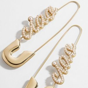 Gold-tone plated Ciao pearl pin earrings safetypin